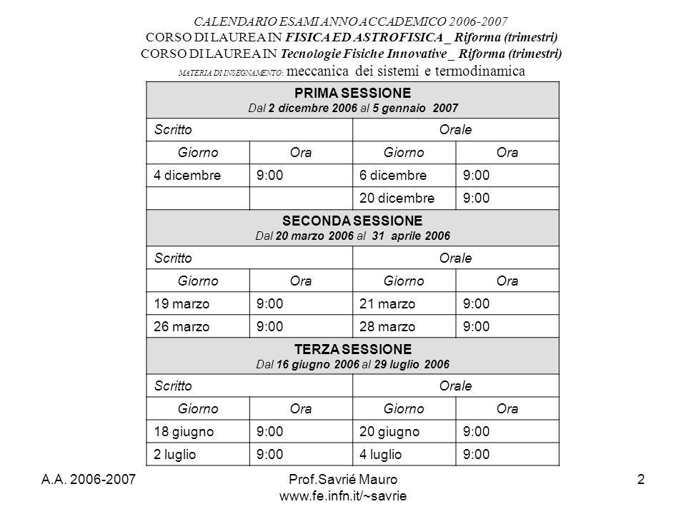 CALENDARIO ESAMI ANNO ACCADEMICO 2006-2007