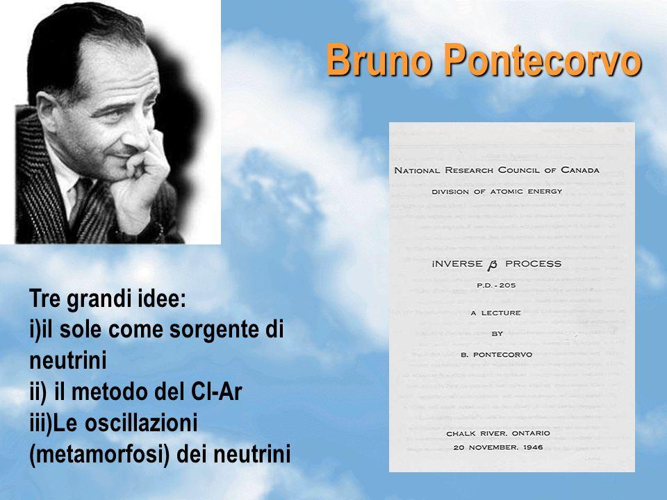 Bruno Pontecorvo Tre grandi idee: i)il sole come sorgente di neutrini