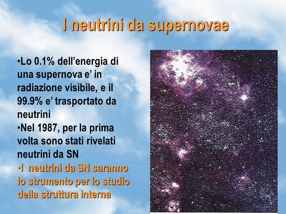 I neutrini da supernovae