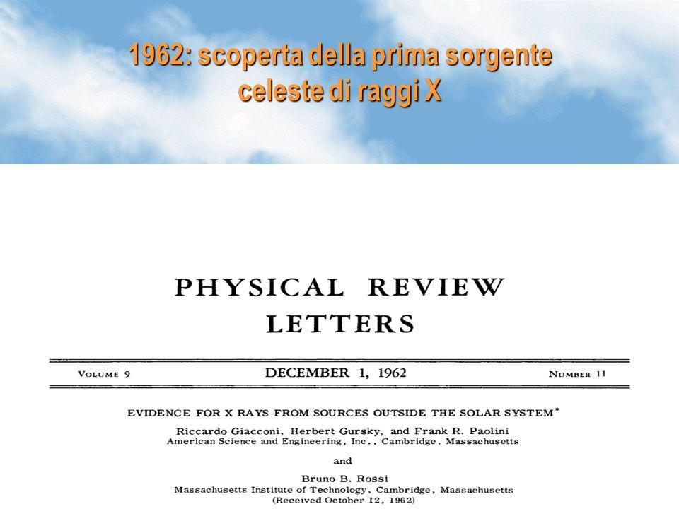 1962: scoperta della prima sorgente celeste di raggi X