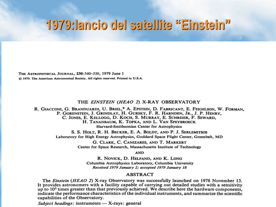 1979:lancio del satellite Einstein