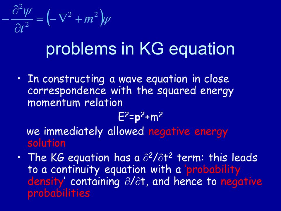 problems in KG equation