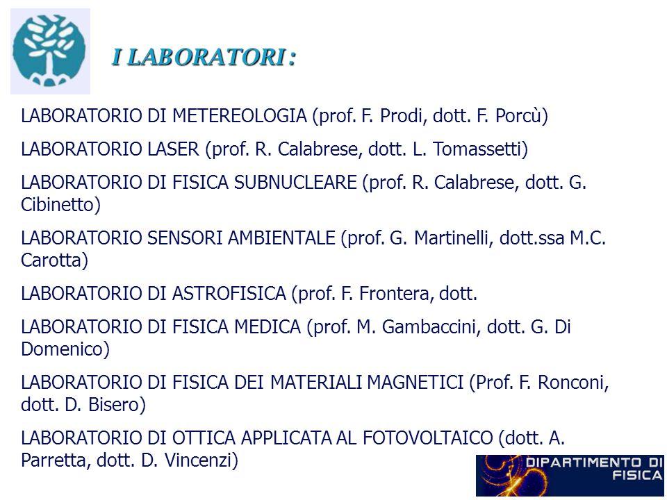 I LABORATORI : LABORATORIO DI METEREOLOGIA (prof. F. Prodi, dott. F. Porcù) LABORATORIO LASER (prof. R. Calabrese, dott. L. Tomassetti)