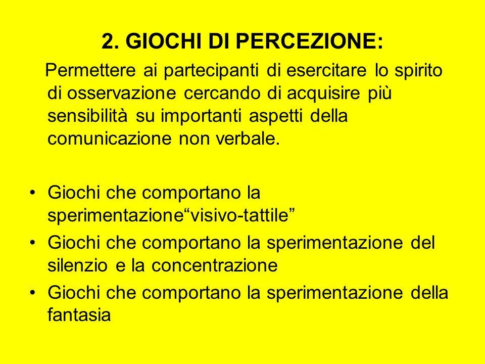 2. GIOCHI DI PERCEZIONE: