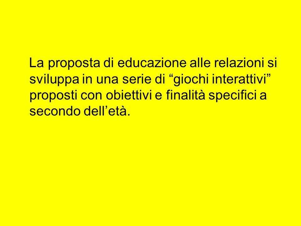 La proposta di educazione alle relazioni si sviluppa in una serie di giochi interattivi proposti con obiettivi e finalità specifici a secondo dell'età.