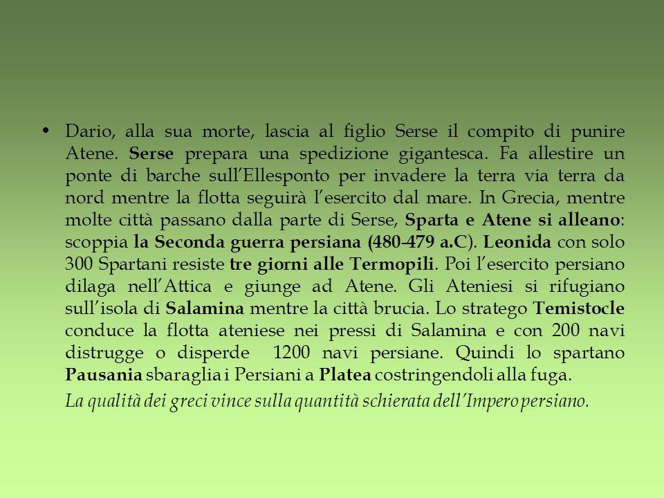 Dario, alla sua morte, lascia al figlio Serse il compito di punire Atene. Serse prepara una spedizione gigantesca. Fa allestire un ponte di barche sull'Ellesponto per invadere la terra via terra da nord mentre la flotta seguirà l'esercito dal mare. In Grecia, mentre molte città passano dalla parte di Serse, Sparta e Atene si alleano: scoppia la Seconda guerra persiana (480-479 a.C). Leonida con solo 300 Spartani resiste tre giorni alle Termopili. Poi l'esercito persiano dilaga nell'Attica e giunge ad Atene. Gli Ateniesi si rifugiano sull'isola di Salamina mentre la città brucia. Lo stratego Temistocle conduce la flotta ateniese nei pressi di Salamina e con 200 navi distrugge o disperde 1200 navi persiane. Quindi lo spartano Pausania sbaraglia i Persiani a Platea costringendoli alla fuga.