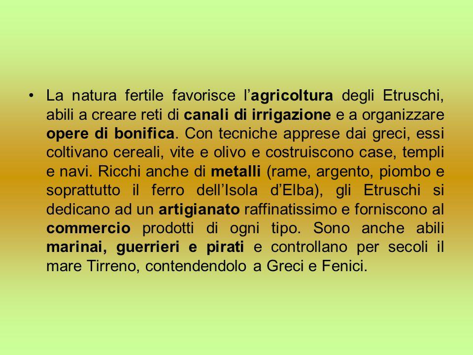 La natura fertile favorisce l'agricoltura degli Etruschi, abili a creare reti di canali di irrigazione e a organizzare opere di bonifica.
