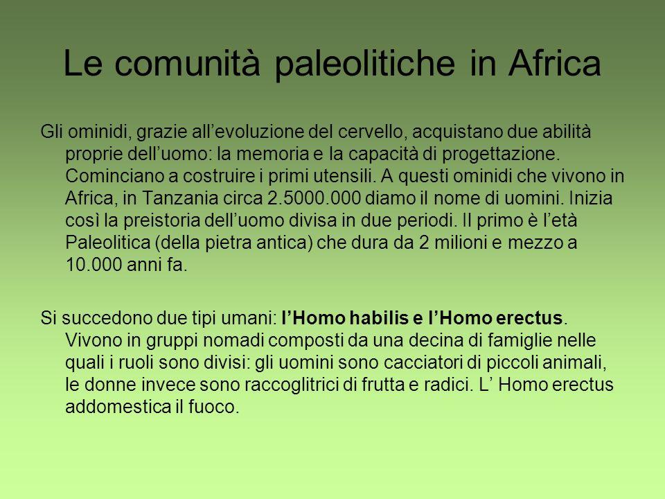 Le comunità paleolitiche in Africa