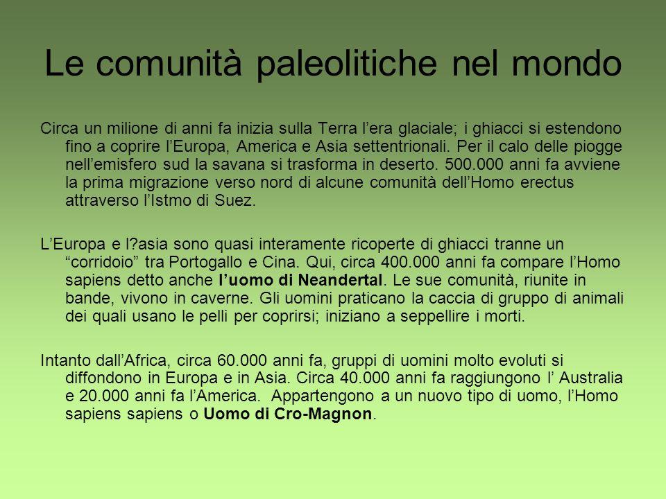 Le comunità paleolitiche nel mondo