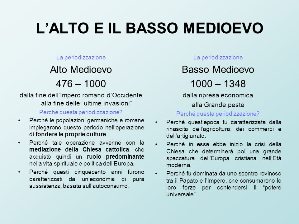 L'ALTO E IL BASSO MEDIOEVO