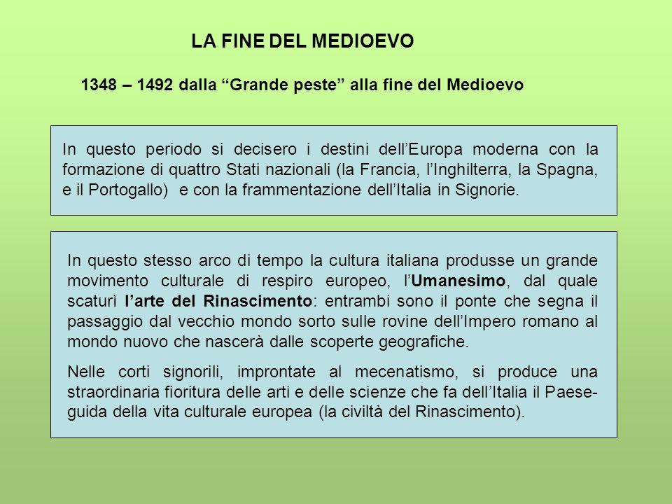 LA FINE DEL MEDIOEVO 1348 – 1492 dalla Grande peste alla fine del Medioevo