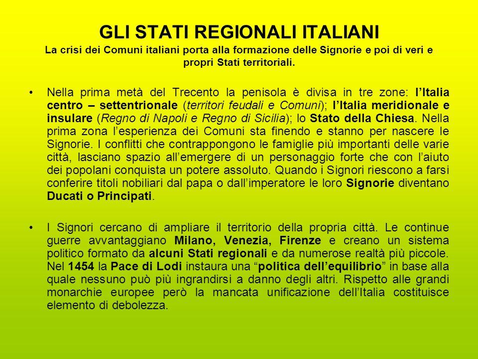 GLI STATI REGIONALI ITALIANI La crisi dei Comuni italiani porta alla formazione delle Signorie e poi di veri e propri Stati territoriali.