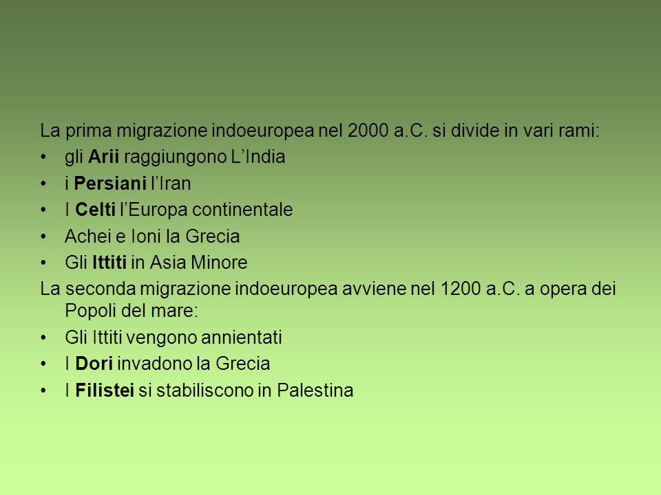 La prima migrazione indoeuropea nel 2000 a.C. si divide in vari rami: