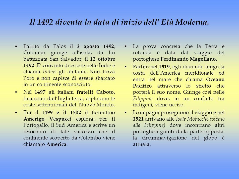 Il 1492 diventa la data di inizio dell' Età Moderna.