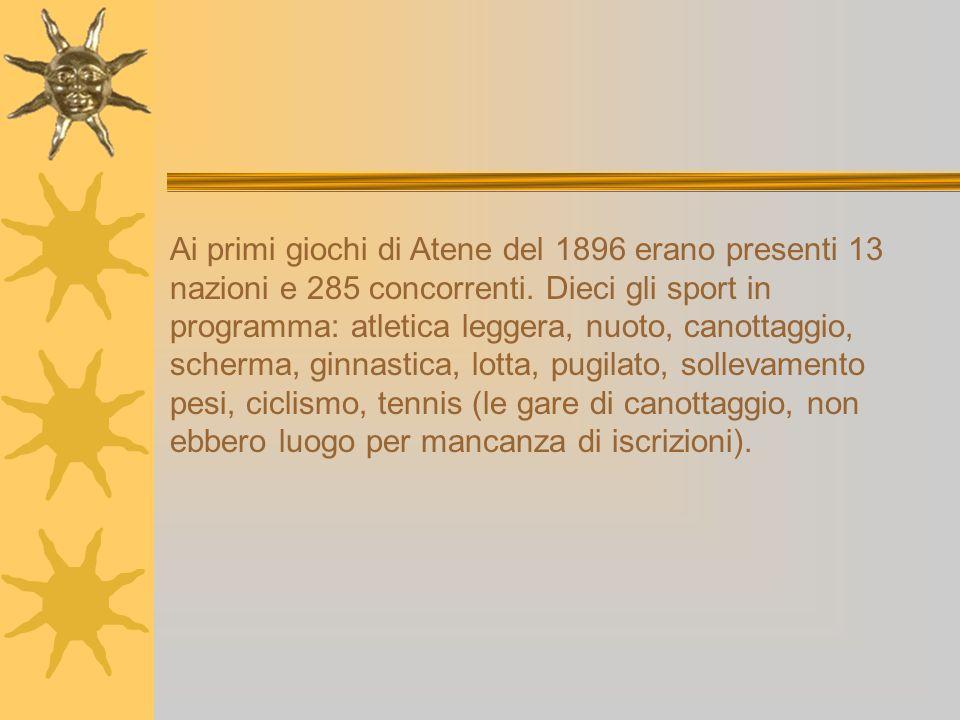 Ai primi giochi di Atene del 1896 erano presenti 13 nazioni e 285 concorrenti.