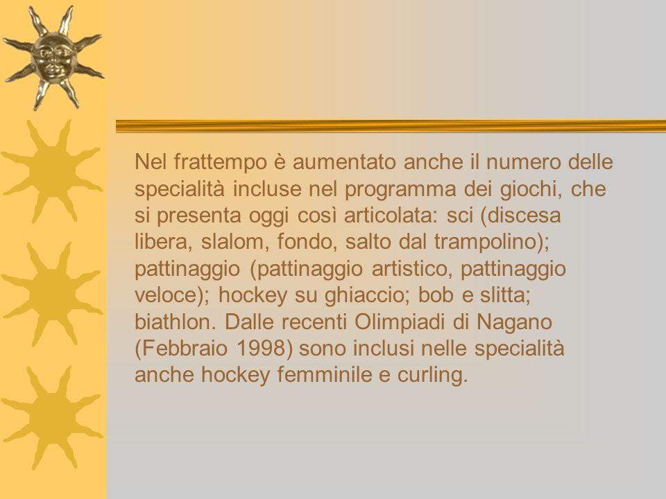 Nel frattempo è aumentato anche il numero delle specialità incluse nel programma dei giochi, che si presenta oggi così articolata: sci (discesa libera, slalom, fondo, salto dal trampolino); pattinaggio (pattinaggio artistico, pattinaggio veloce); hockey su ghiaccio; bob e slitta; biathlon.