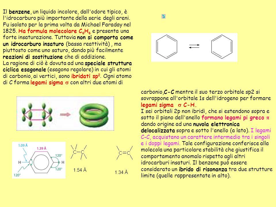 Il benzene, un liquido incolore, dall odore tipico, è l idrocarburo più importante della serie degli areni. Fu isolato per la prima volta da Michael Faraday nel 1825. Ha formula molecolare C6H6 e presenta una forte insaturazione. Tuttavia non si comporta come un idrocarburo insaturo (bassa reattività) , ma piuttosto come uno saturo, dando più facilmente reazioni di sostituzione che di addizione. La ragione di ciò è dovuta ad una speciale struttura ciclica esagonale (esagono regolare) in cui gli atomi di carbonio, ai vertici, sono ibridati sp2. Ogni atomo di C forma legami sigma s con altri due atomi di
