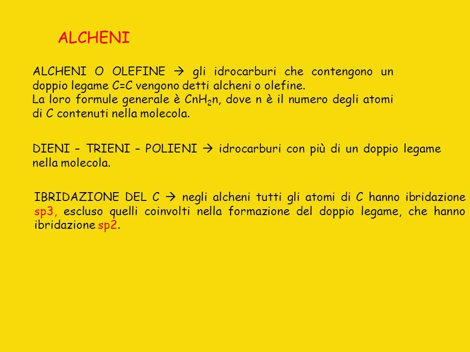 ALCHENI ALCHENI O OLEFINE  gli idrocarburi che contengono un doppio legame C=C vengono detti alcheni o olefine.