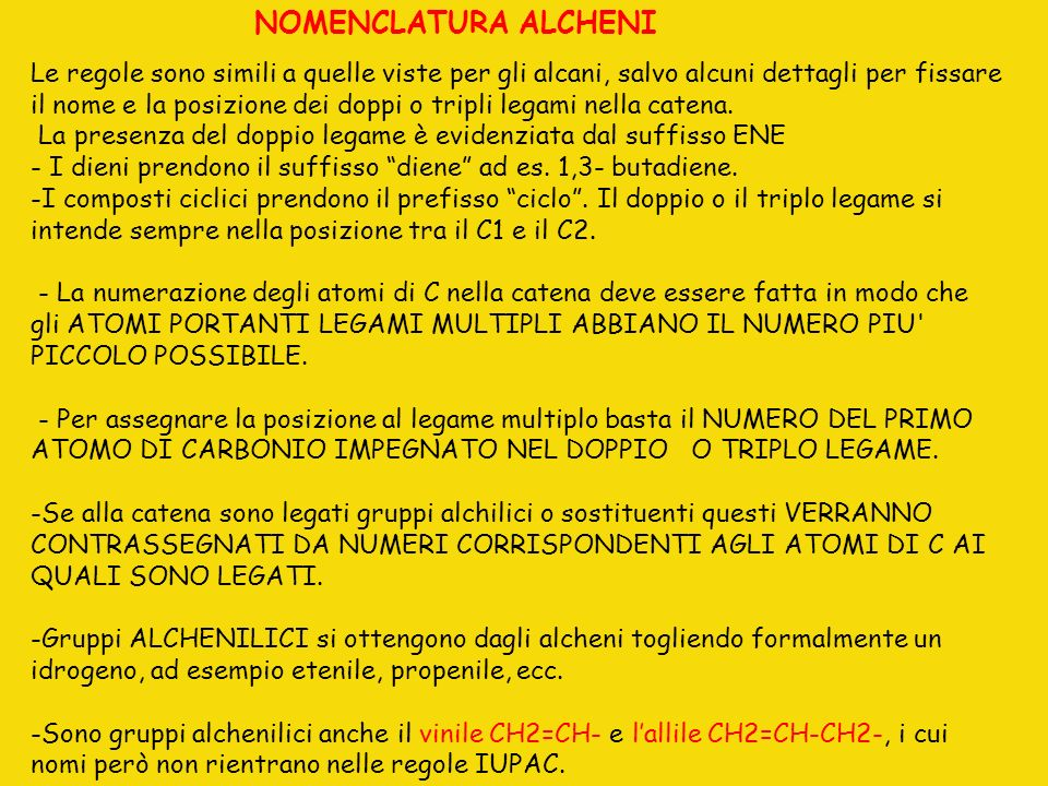 NOMENCLATURA ALCHENI