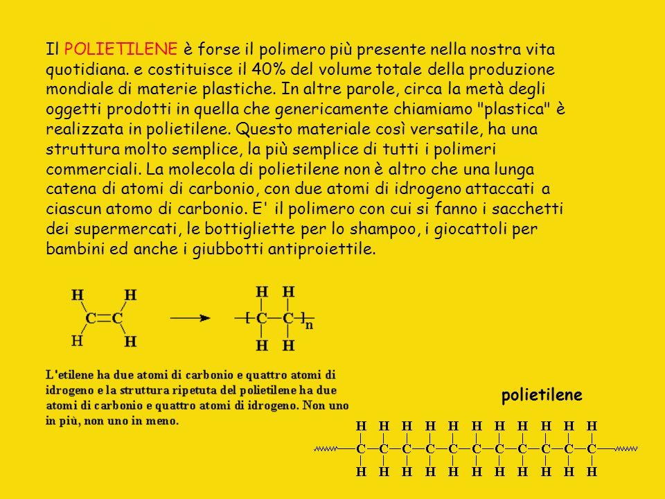 Il POLIETILENE è forse il polimero più presente nella nostra vita quotidiana. e costituisce il 40% del volume totale della produzione mondiale di materie plastiche. In altre parole, circa la metà degli oggetti prodotti in quella che genericamente chiamiamo plastica è realizzata in polietilene. Questo materiale così versatile, ha una struttura molto semplice, la più semplice di tutti i polimeri commerciali. La molecola di polietilene non è altro che una lunga catena di atomi di carbonio, con due atomi di idrogeno attaccati a ciascun atomo di carbonio. E il polimero con cui si fanno i sacchetti dei supermercati, le bottigliette per lo shampoo, i giocattoli per bambini ed anche i giubbotti antiproiettile.