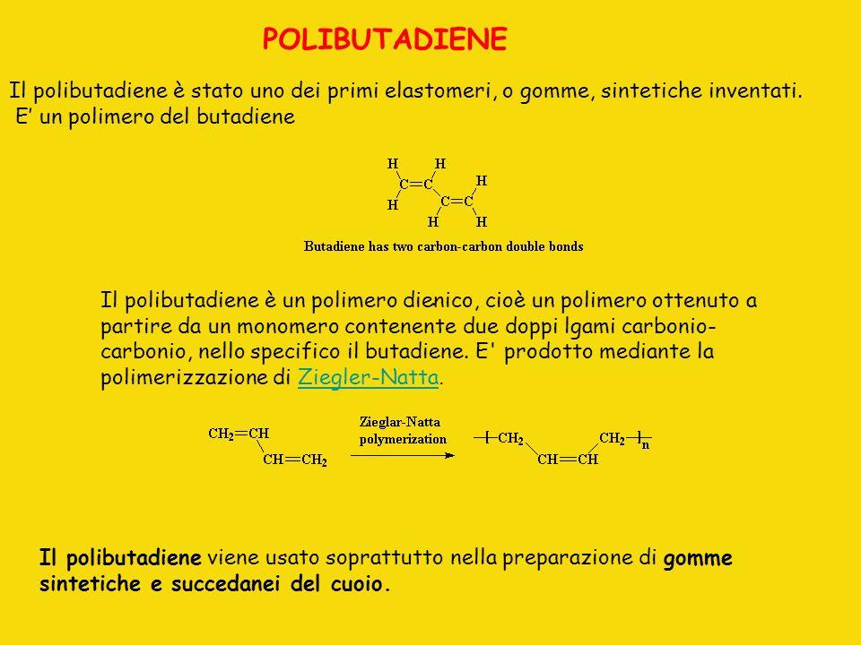 POLIBUTADIENE Il polibutadiene è stato uno dei primi elastomeri, o gomme, sintetiche inventati. E' un polimero del butadiene.