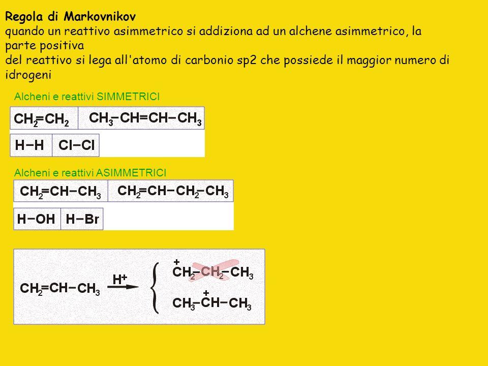 Regola di Markovnikov quando un reattivo asimmetrico si addiziona ad un alchene asimmetrico, la parte positiva del reattivo si lega all atomo di carbonio sp2 che possiede il maggior numero di idrogeni