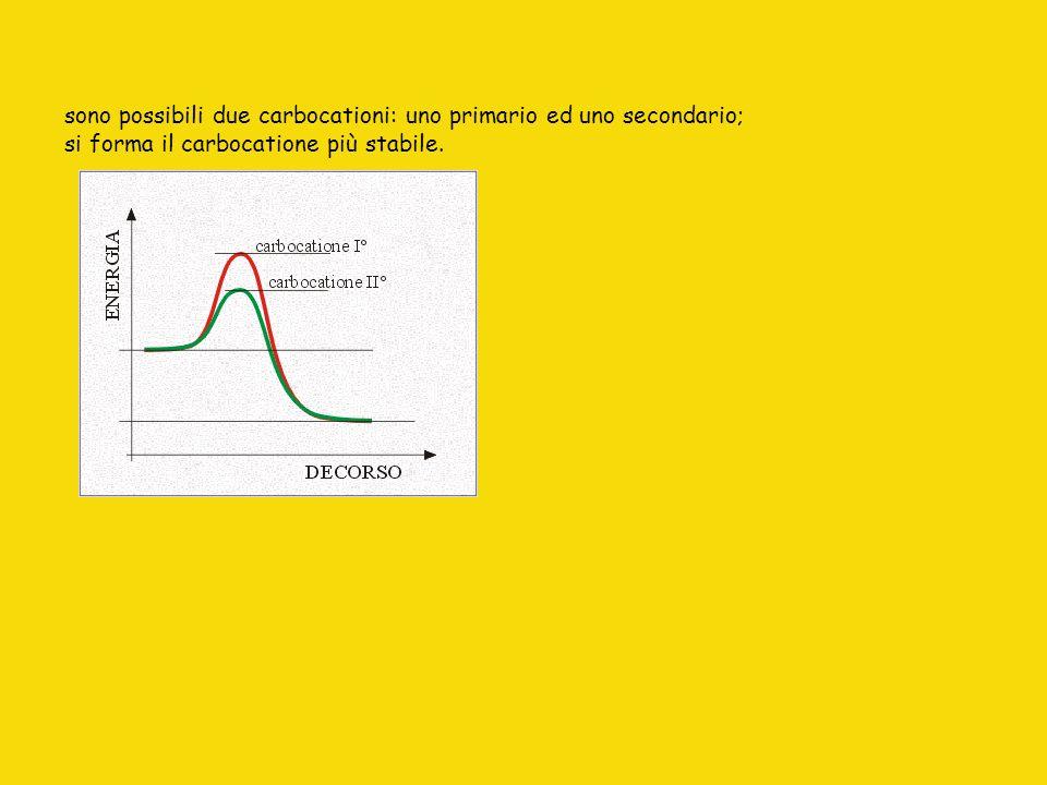 sono possibili due carbocationi: uno primario ed uno secondario; si forma il carbocatione più stabile.