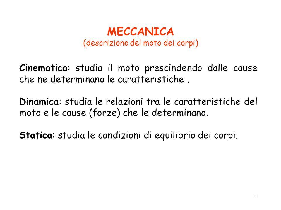 MECCANICA (descrizione del moto dei corpi)