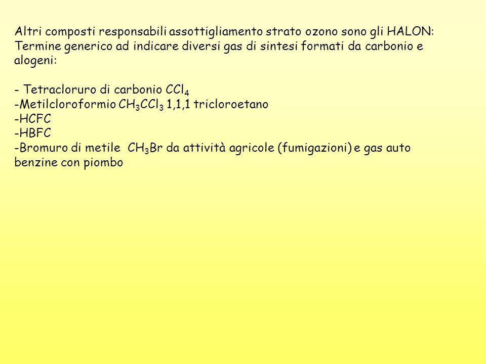 Altri composti responsabili assottigliamento strato ozono sono gli HALON: