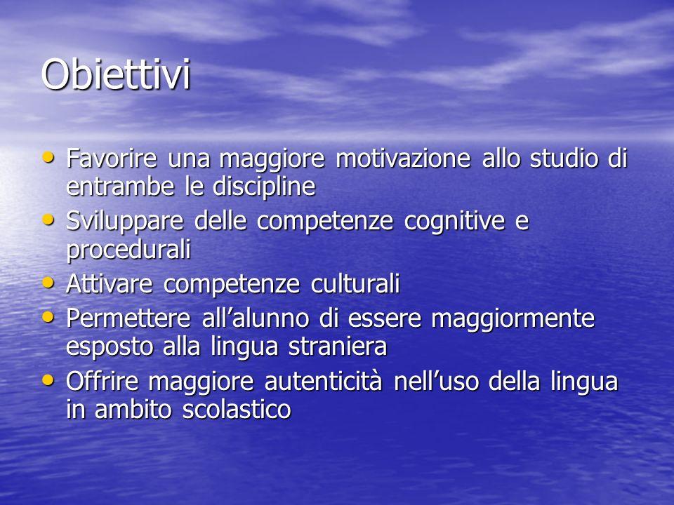 Obiettivi Favorire una maggiore motivazione allo studio di entrambe le discipline. Sviluppare delle competenze cognitive e procedurali.
