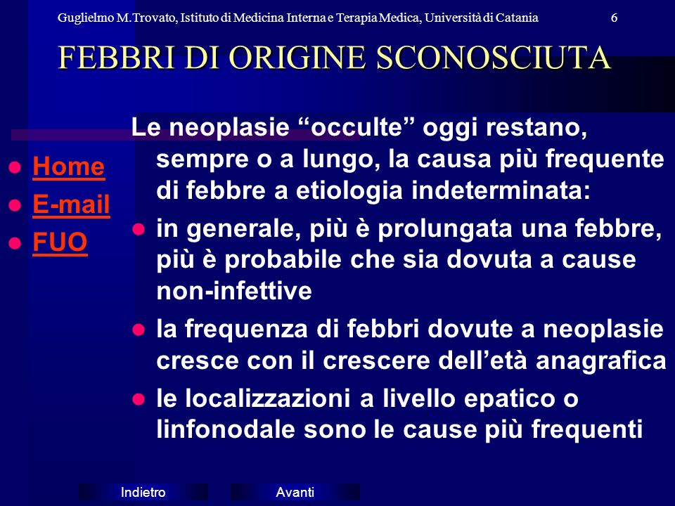 FEBBRI DI ORIGINE SCONOSCIUTA