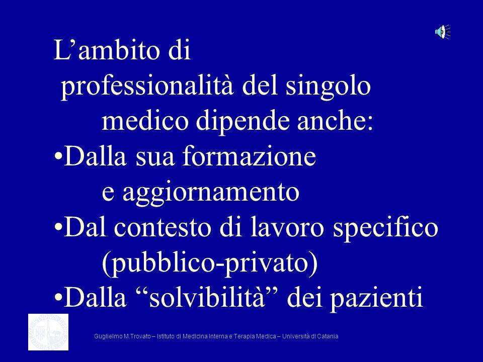 professionalità del singolo medico dipende anche: Dalla sua formazione