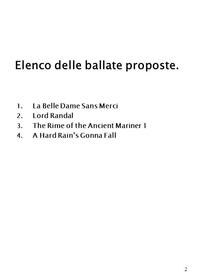 Elenco delle ballate proposte.