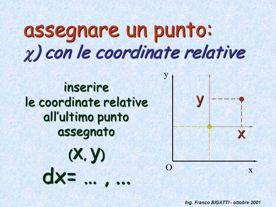 assegnare un punto: ) con le coordinate relative