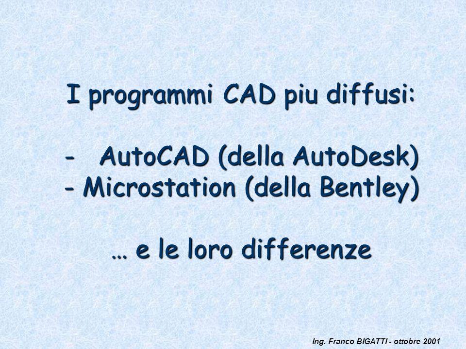 I programmi CAD piu diffusi: - AutoCAD (della AutoDesk) - Microstation (della Bentley) … e le loro differenze