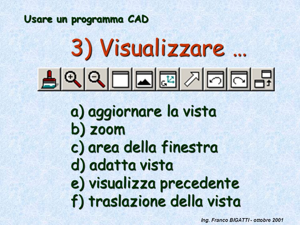 3) Visualizzare … a) aggiornare la vista b) zoom