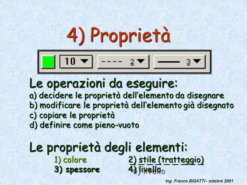 4) Proprietà Le operazioni da eseguire: Le proprietà degli elementi: