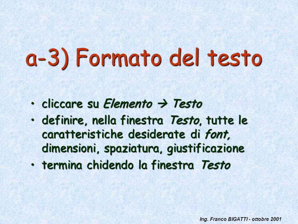 a-3) Formato del testo cliccare su Elemento  Testo