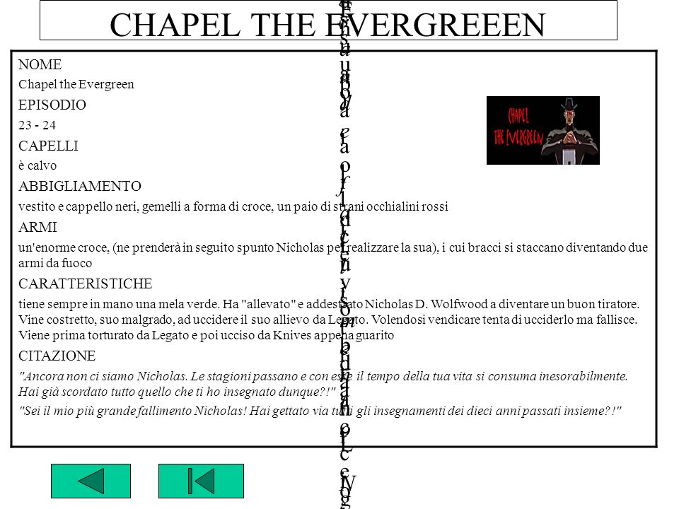CHAPEL THE EVERGREEEN NOME Chapel the Evergreen GUNG HO GUNS n°