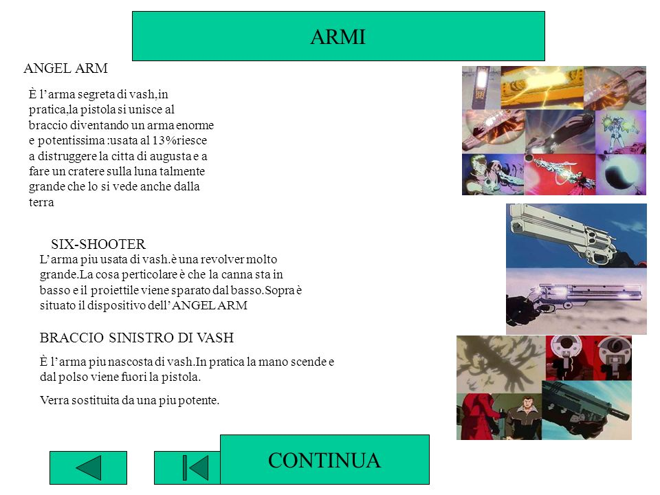 ARMI CONTINUA ANGEL ARM SIX-SHOOTER BRACCIO SINISTRO DI VASH