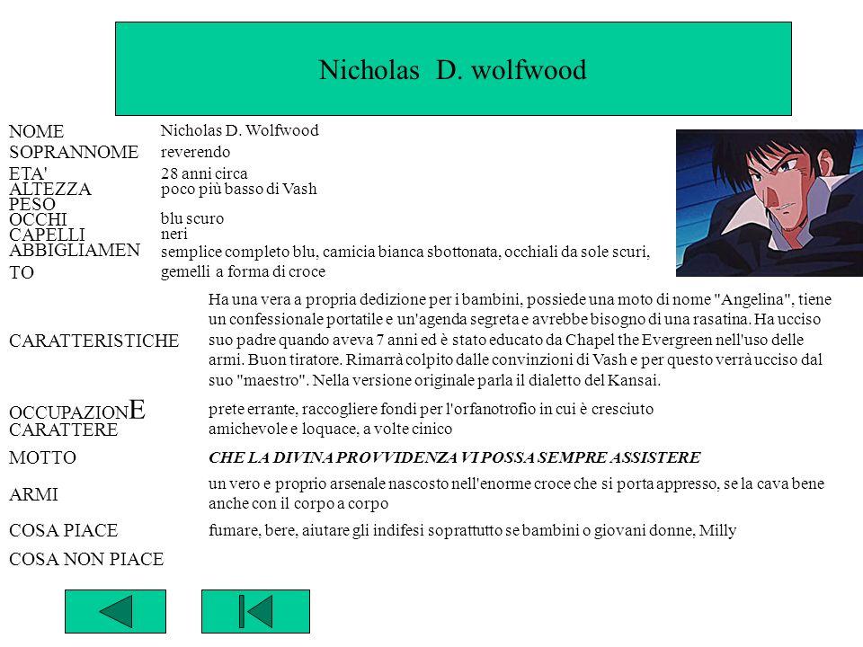 Nicholas D. wolfwood NOME SOPRANNOME ETA ALTEZZA PESO OCCHI CAPELLI