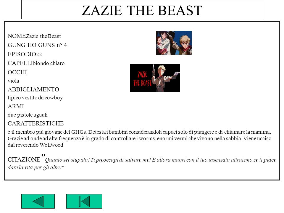 ZAZIE THE BEAST NOMEZazie the Beast GUNG HO GUNS n° 4 EPISODIO22