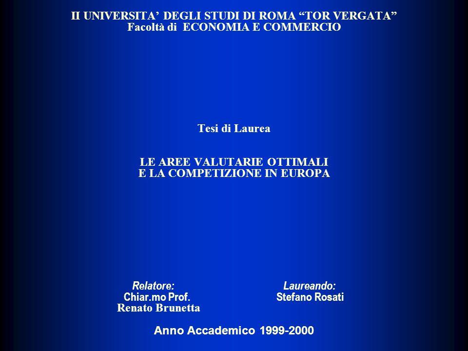 II UNIVERSITA' DEGLI STUDI DI ROMA TOR VERGATA Facoltà di ECONOMIA E COMMERCIO Tesi di Laurea LE AREE VALUTARIE OTTIMALI E LA COMPETIZIONE IN EUROPA Relatore: Laureando: Chiar.mo Prof.