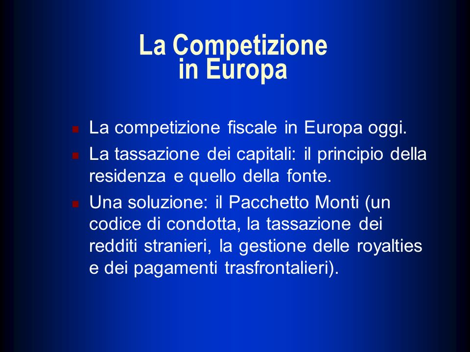 La Competizione in Europa