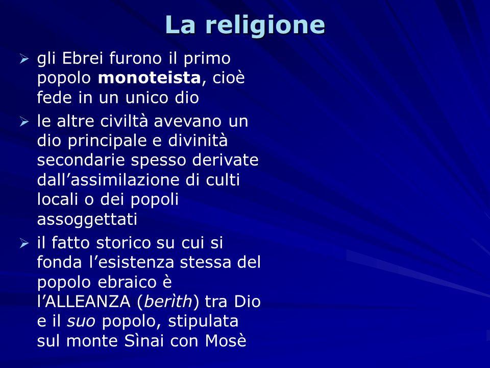 La religione gli Ebrei furono il primo popolo monoteista, cioè fede in un unico dio.