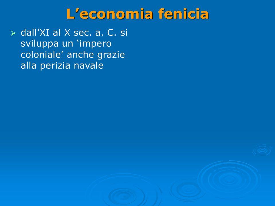 L'economia fenicia dall'XI al X sec. a. C. si sviluppa un 'impero coloniale' anche grazie alla perizia navale.
