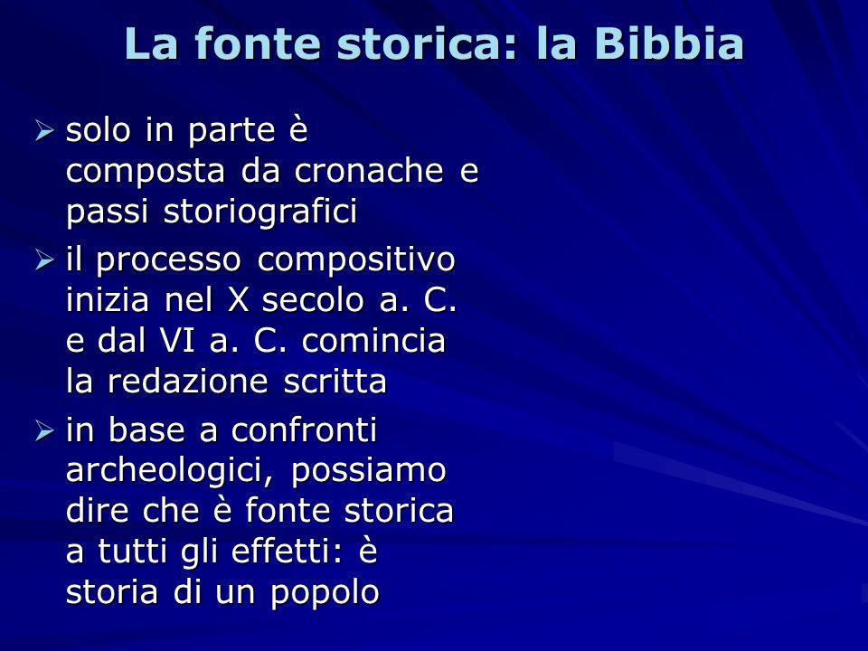 La fonte storica: la Bibbia