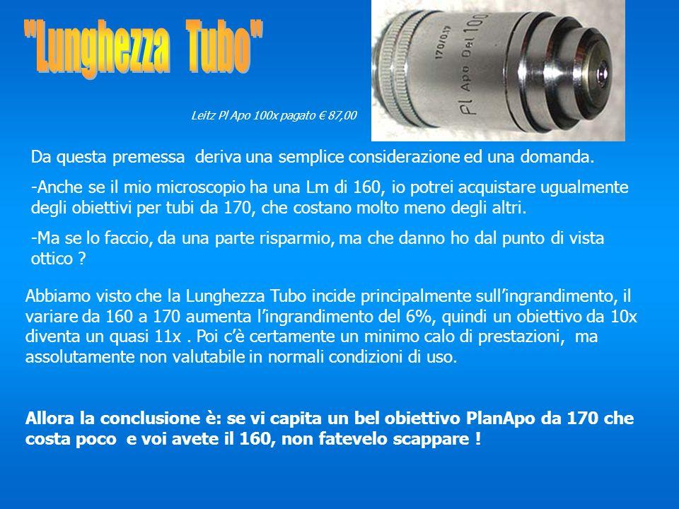 Lunghezza Tubo Leitz Pl Apo 100x pagato € 87,00. Da questa premessa deriva una semplice considerazione ed una domanda.