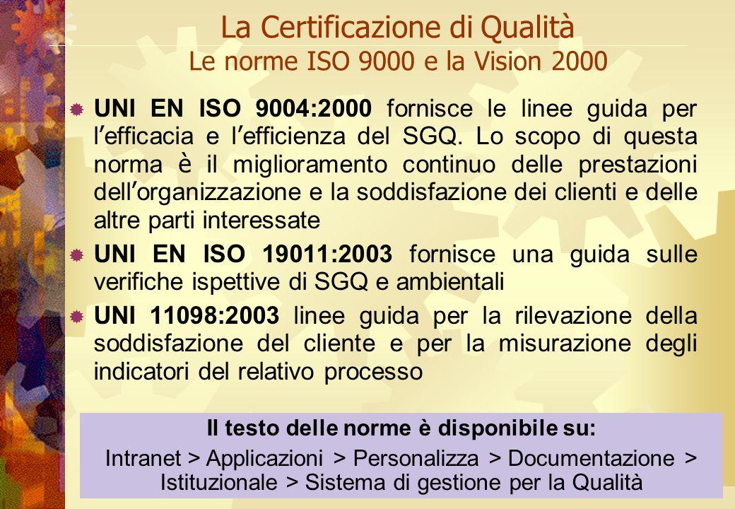 La Certificazione di Qualità Le norme ISO 9000 e la Vision 2000