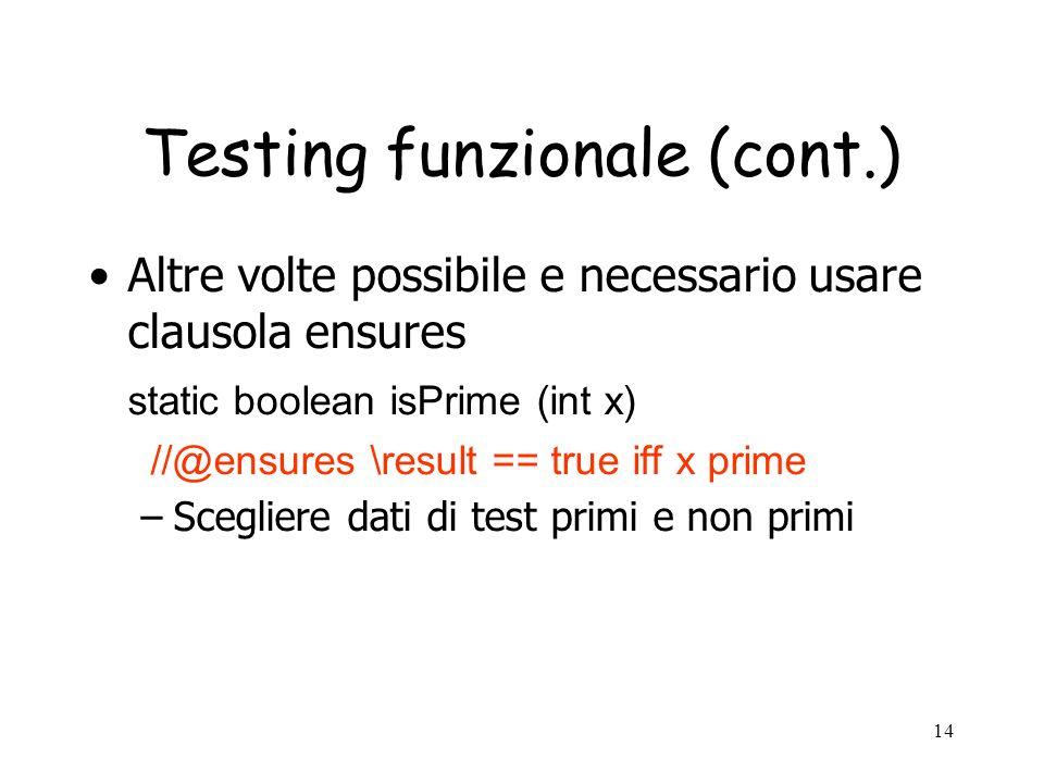 Testing funzionale (cont.)
